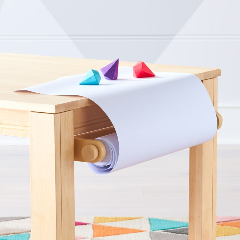 Natural Adjustable Kids Table Paper Roll Holder Crate