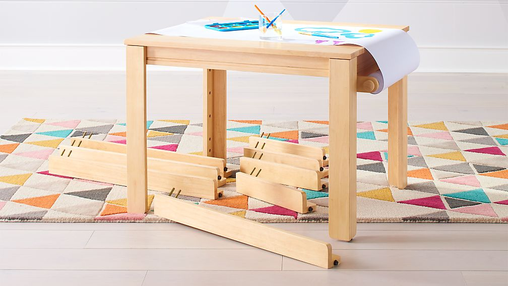 Small Natural Adjule Kids Table Leg Set And Paper Roll Crate Barrel