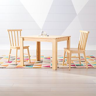 Small Adjustable Natural Kids Table and Shore Kids Chairs Set & Kids Play and Activity Tables \u0026 Chairs | Crate and Barrel
