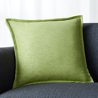 "Linden Leaf Green 18"" Pillow with Feather-Down Insert"