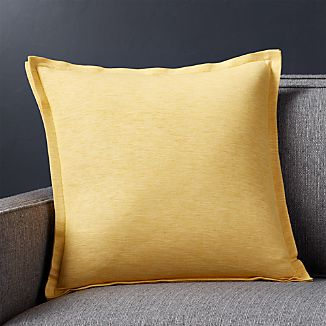 "Linden Saffron Yellow 18"" Pillow with Down-Alternative Insert"