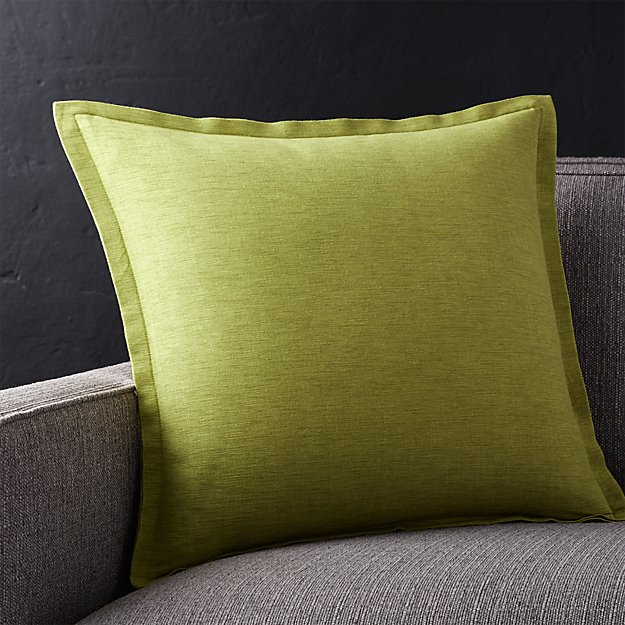 "Linden Apple Green 18"" Pillow with Feather-Down Insert"