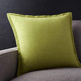 "Linden Apple Green 18"" Pillow with Down-Alternative Insert"