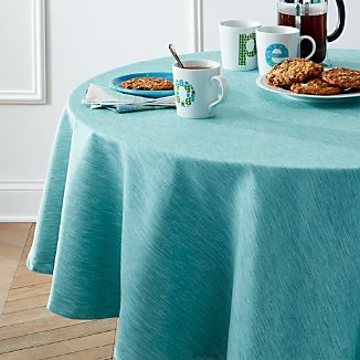 "Linden Aqua 90"" Round Tablecloth"