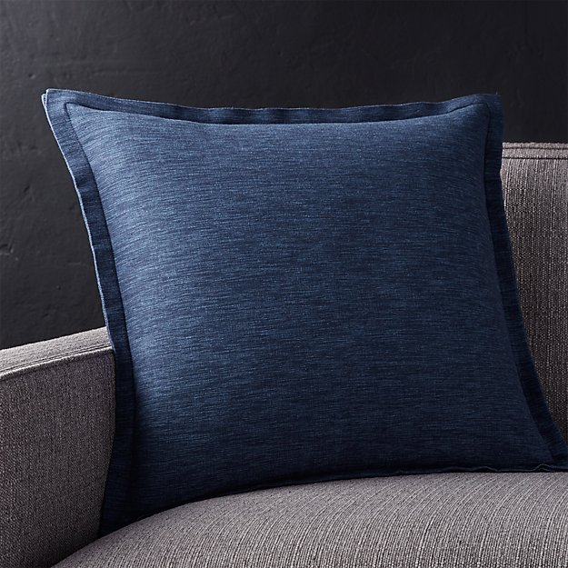 "Linden Cobalt 18"" Pillow with Feather-Down Insert"