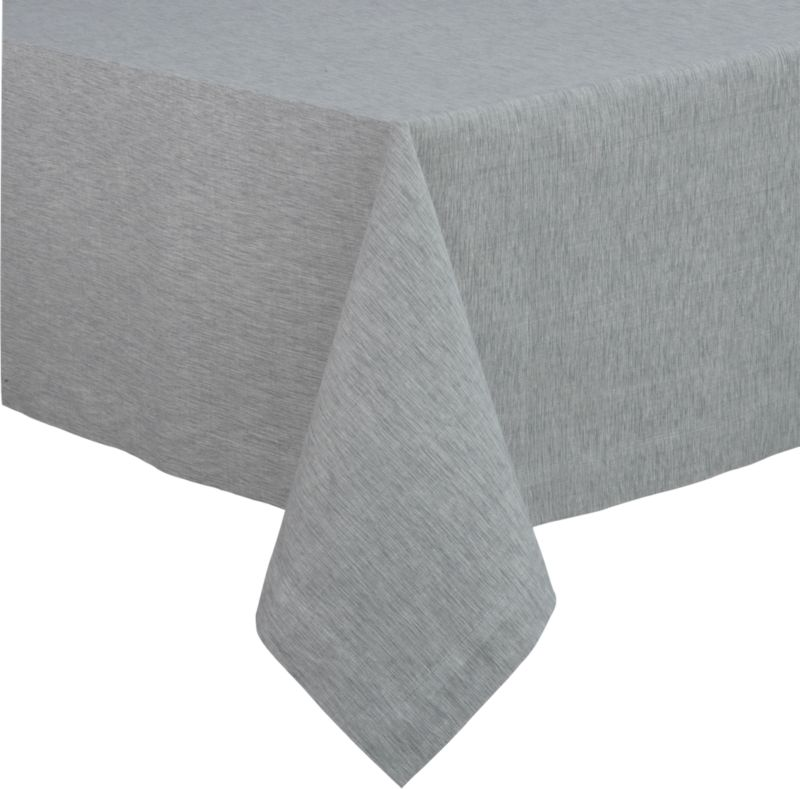 "Richly textured cotton-rayon tablecloth is woven in a tone-on-tone hue for all year round. Custom-tailored with 1.5"" hem and mitered corners.<br /><br /><NEWTAG/><ul><li>Cotton-rayon blend tablecloths</li><li>Oversized to allow for shrinkage</li><li>Machine wash tablecloth cold, tumble dry low, and iron damp</li></ul>"