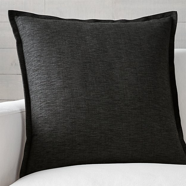 "Linden Ebony 23"" Black Pillow with Feather-Down Insert"