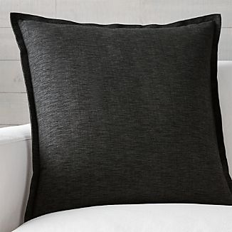"Linden Ebony 23"" Black Pillow with Down-Alternative"