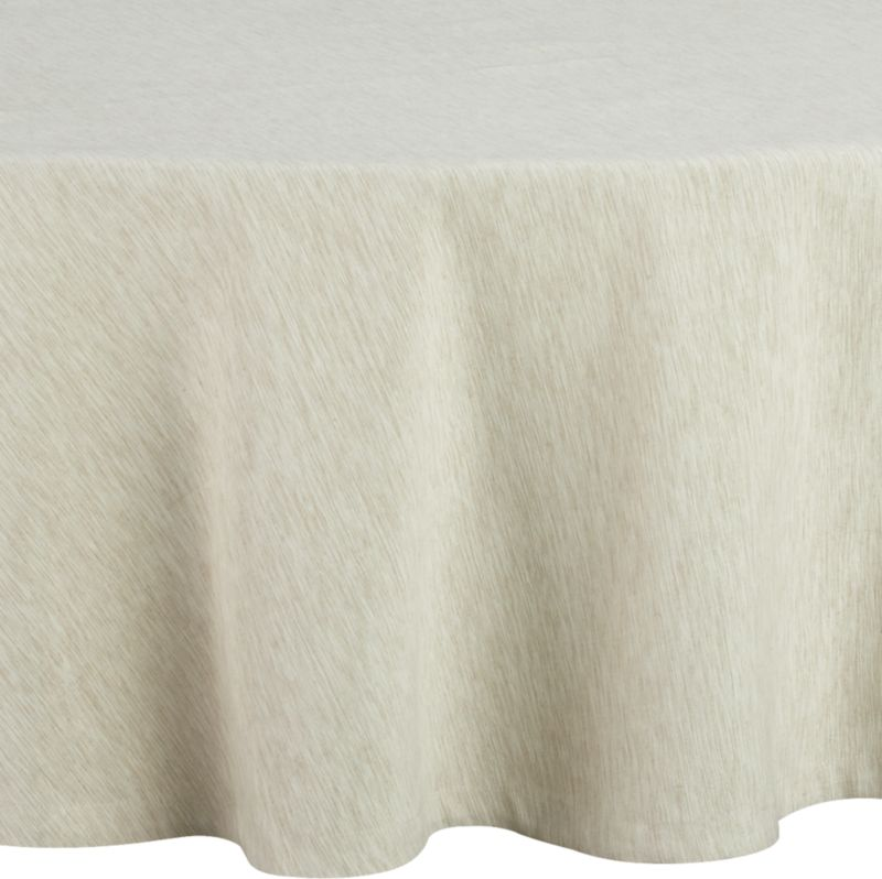 """Richly textured cotton-rayon tablecloth is woven in a tone-on-tone hue for all year round. Custom-tailored with 1.5"""" hem and mitered corners.<br /><br /><br /><NEWTAG/><ul><li>Cotton-rayon blend tablecloths</li><li>Oversized to allow for shrinkage</li><li>Machine wash tablecloth cold, tumble dry low, and iron damp</li><li>Made in India</li></ul><br />"""