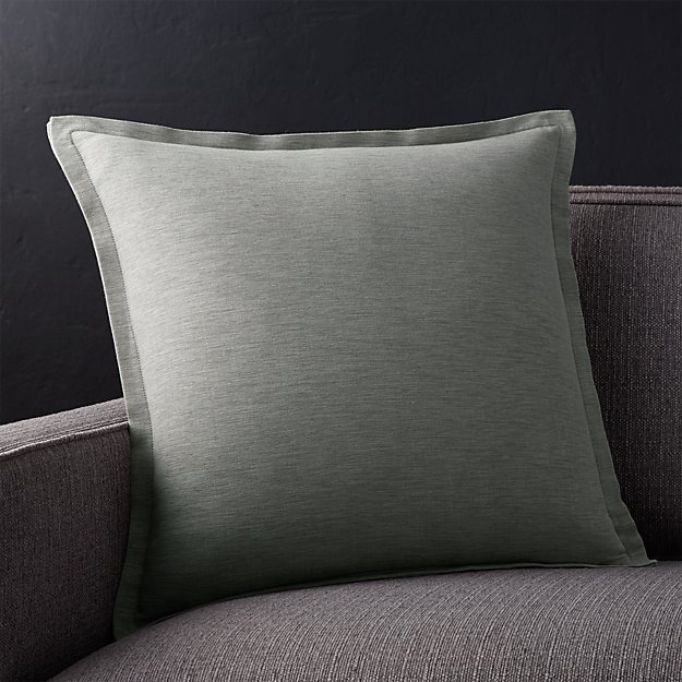 "Linden Grey 18"" Pillow with Feather-Down Insert"