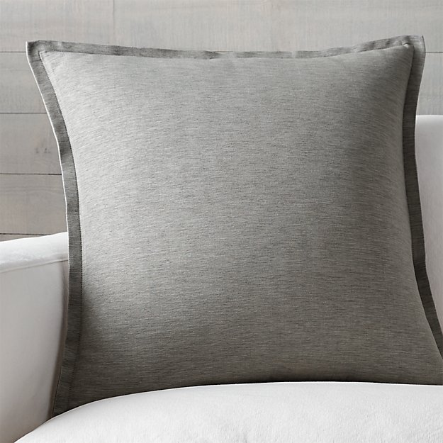 "Linden Grey 23"" Pillow with Feather-Down Insert"