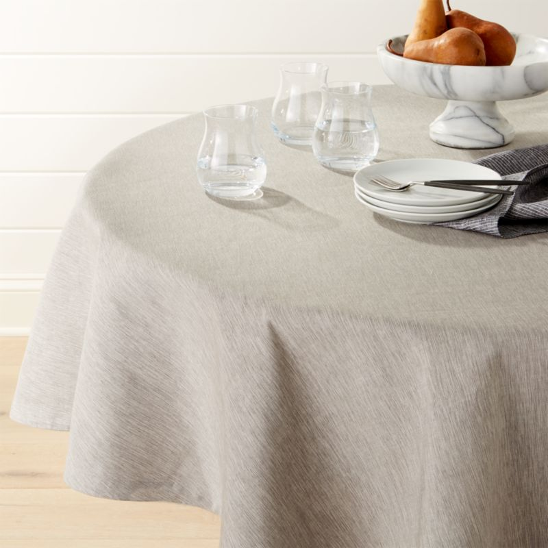 Linden Grey 90 Quot Round Tablecloth Reviews Crate And Barrel