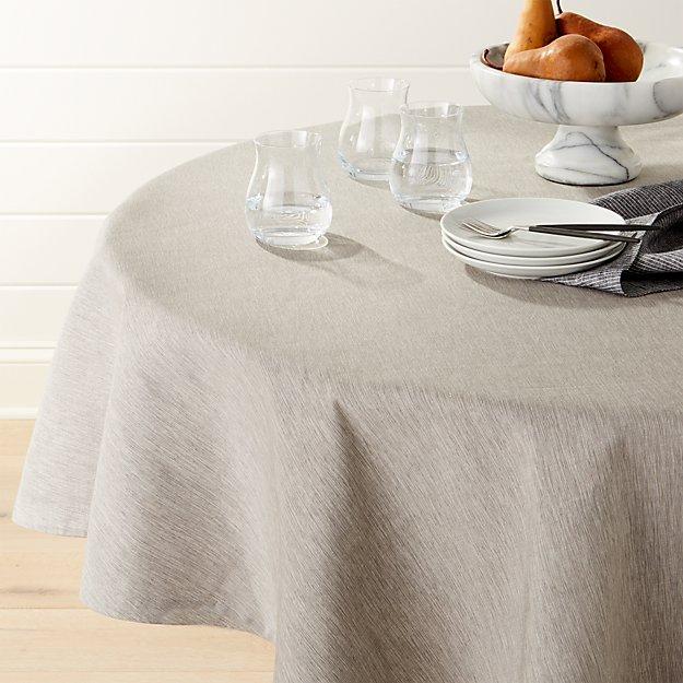 "Linden Grey 90"" Round Tablecloth"