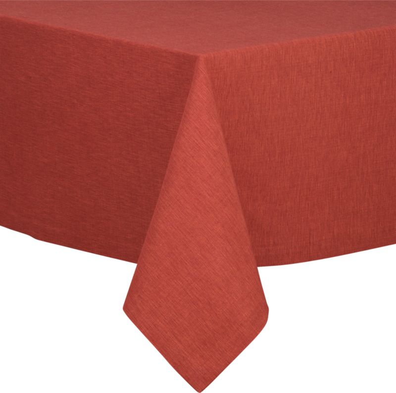 """Richly textured cotton-rayon tablecloth is woven in a tone-on-tone hue for all year round. Custom-tailored with 1.5"""" hem and mitered corners.<br /><br /><NEWTAG/><ul><li>Cotton-rayon blend tablecloths</li><li>Packaged in a reusable self-fabric storage bag</li><li>Oversized to allow for shrinkage</li><li>Machine wash tablecloth cold, tumble dry low, and iron damp</li></ul>"""