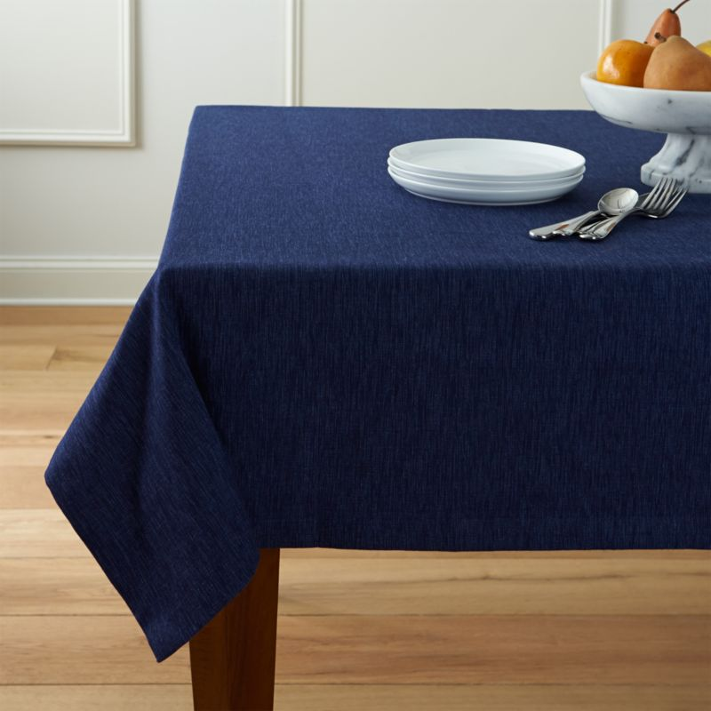 Linden Indigo Blue Tablecloth Crate And Barrel
