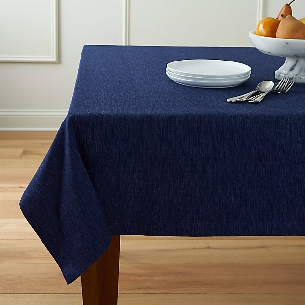 "Linden Indigo 60""x60"" Square Tablecloth"