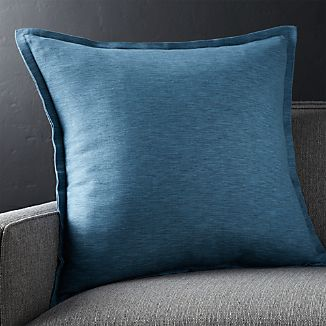 "Linden Indigo Blue 23"" Pillow with Feather-Down Insert"