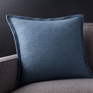 "Linden Indigo Blue 18"" Pillow with Down-Alternative Insert"