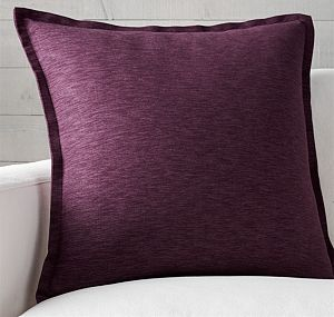 "Linden Plum 23"" Pillow with Feather-Down Insert"