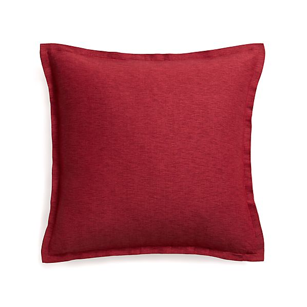 "Linden Red 23"" Pillow with Feather Insert"