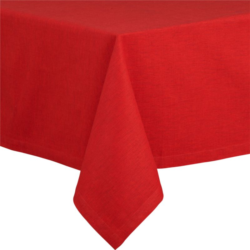 "Richly textured cotton-rayon tablecloth is woven in a tone-on-tone hue for all year round. Custom-tailored with 1.5"" hem and mitered corners.<br /><br /><NEWTAG/><ul><li>Cotton-rayon blend</li><li>Packaged in a resuable self-fabric storage bag</li><li>Oversized to allow for shrinkage</li><li>Machine wash cold, tumble dry low, and iron damp; or dry clean</li><li>Made in India</li></ul>"