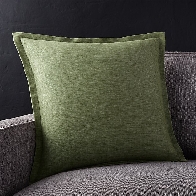 "Linden Sage Green 18"" Pillow with Feather-Down Insert"