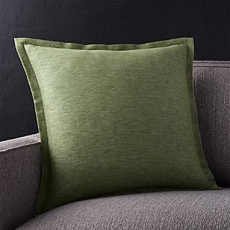 "Linden Sage Green 18"" Pillow with Down-Alternative Insert"