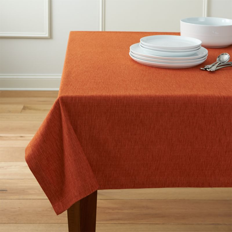 Linden Sienna Orange Tablecloth Crate And Barrel