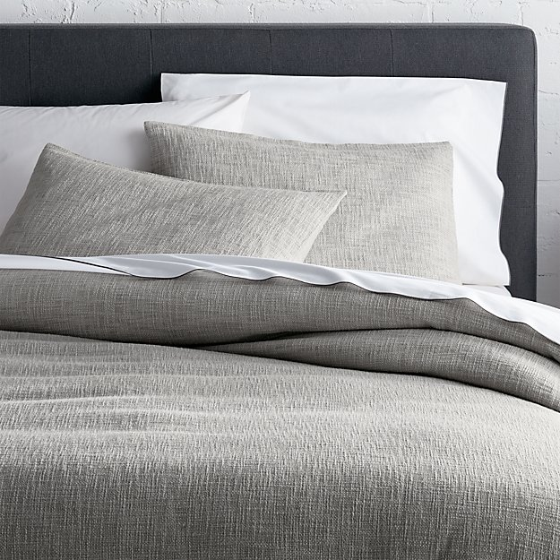 full queen duvet cover Lindstrom Grey Duvet Covers and Pillow Shams | Crate and Barrel full queen duvet cover