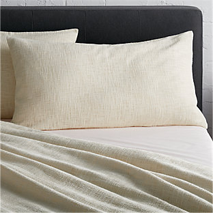 Lindstrom ivory full queen duvet cover crate and barrel for King shams on queen bed