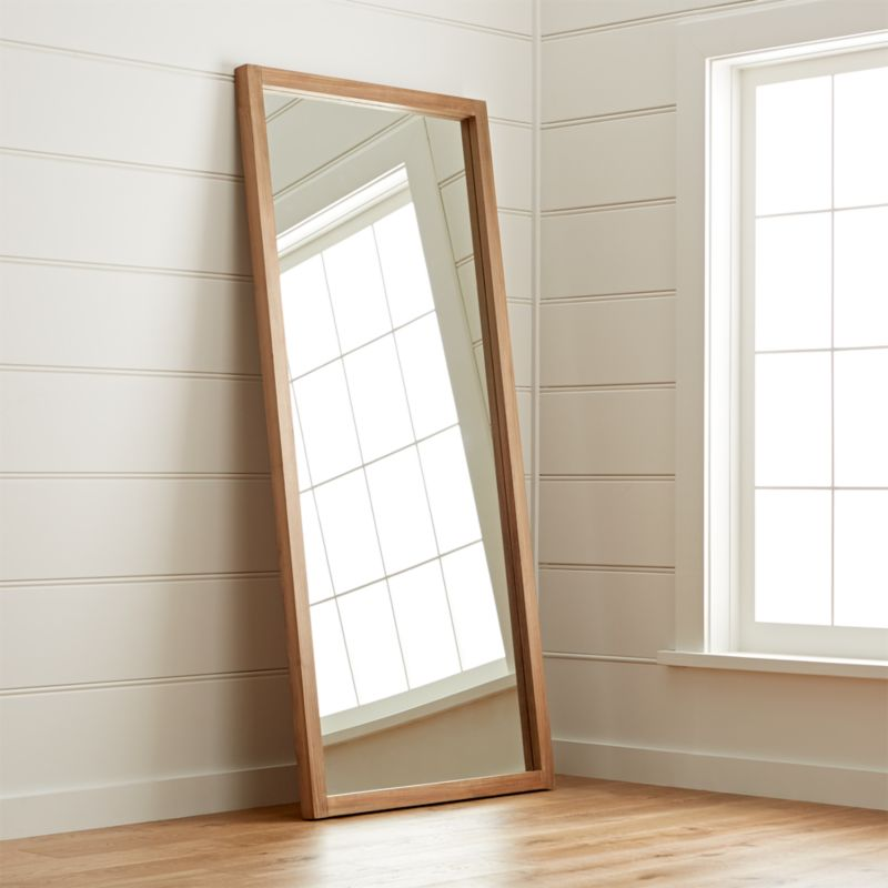 Linea teak floor mirror reviews crate and barrel for Floor wall mirror