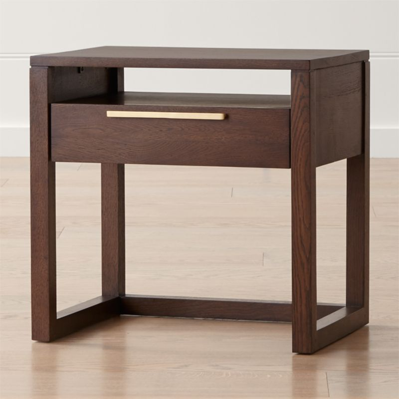 linea mocha nightstand reviews crate and barrel. Black Bedroom Furniture Sets. Home Design Ideas