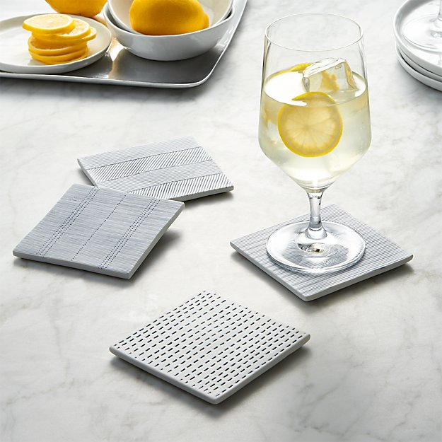 Set of 4 Linea Tile Coasters - Image 1 of 3