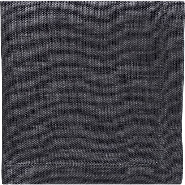 Set of 8 Linen Graphite Cocktail Napkins