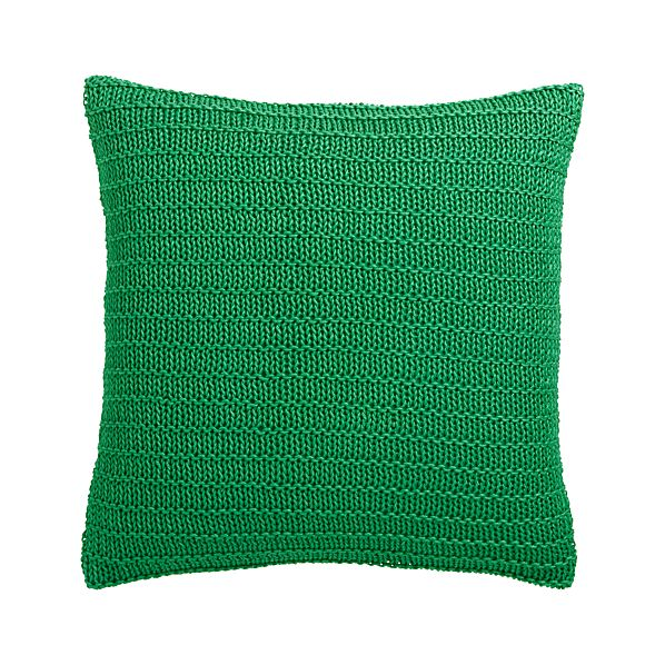"""Linen Knit Green 18"""" Pillow with Feather-Down Insert"""