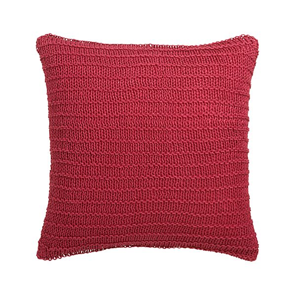"Linen Knit Red 18"" Pillow with Feather-Down Insert"