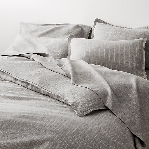 Linen Pinstripe Grey Duvet Covers and Pillow Shams - Image 1 of 9