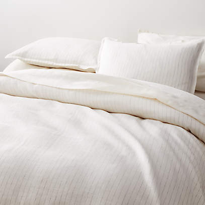Pure Linen Pinstripe Warm White King, Crate And Barrel Bedding Reviews