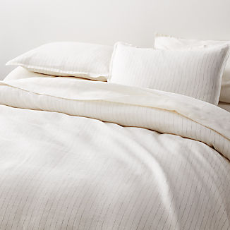 Linen Pinstripe Warm White Duvet Covers and Pillow Shams