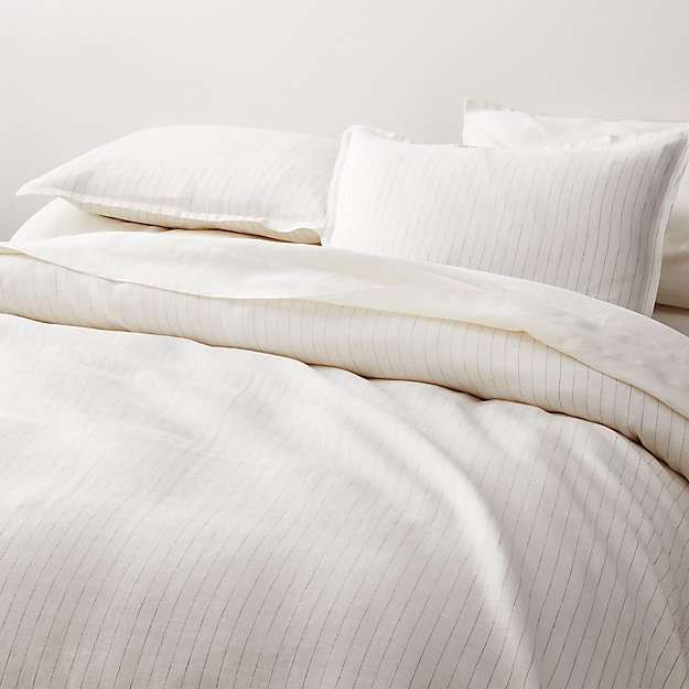 Linen Pinstripe Warm White Duvet Covers and Pillow Shams - Image 1 of 8