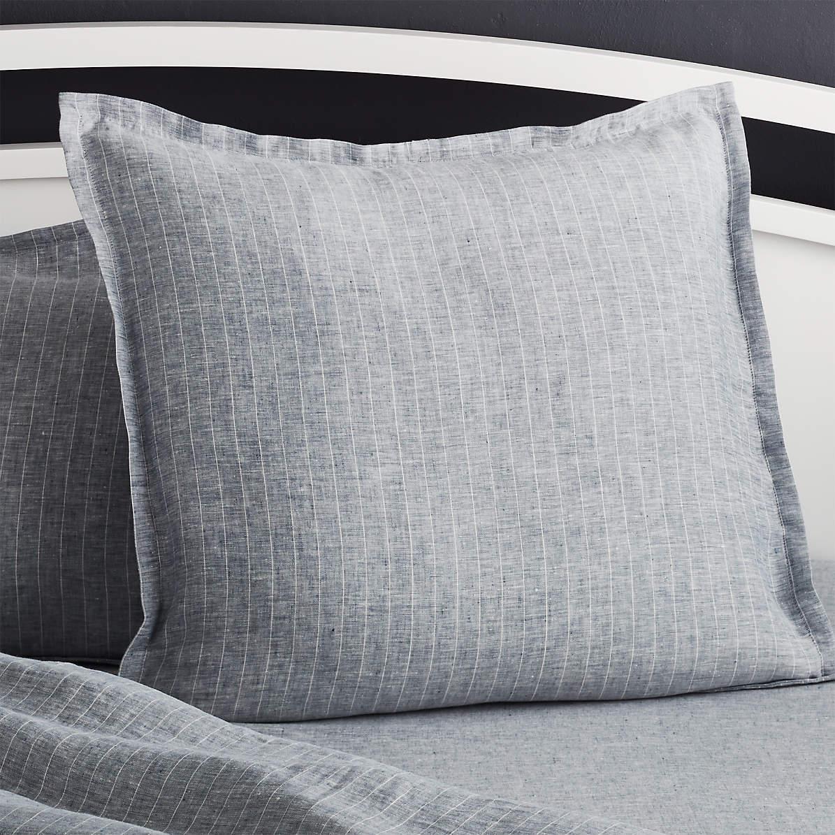 Pure Linen Pinstripe Blue Euro Pillow Sham Reviews Crate And Barrel