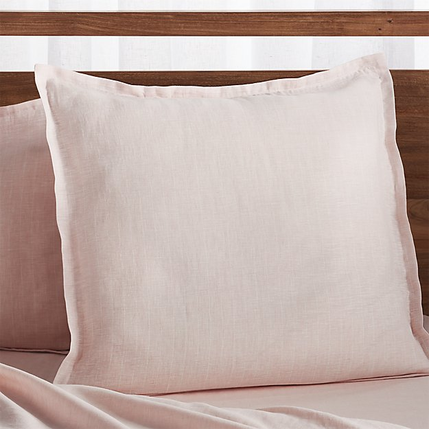 Linen Pinstripe Blush Euro Pillow Sham Reviews Crate