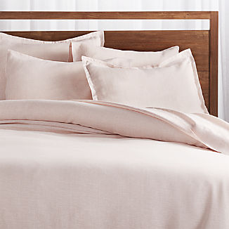 Linen Pinstripe Blush Duvet Covers and Pillow Shams
