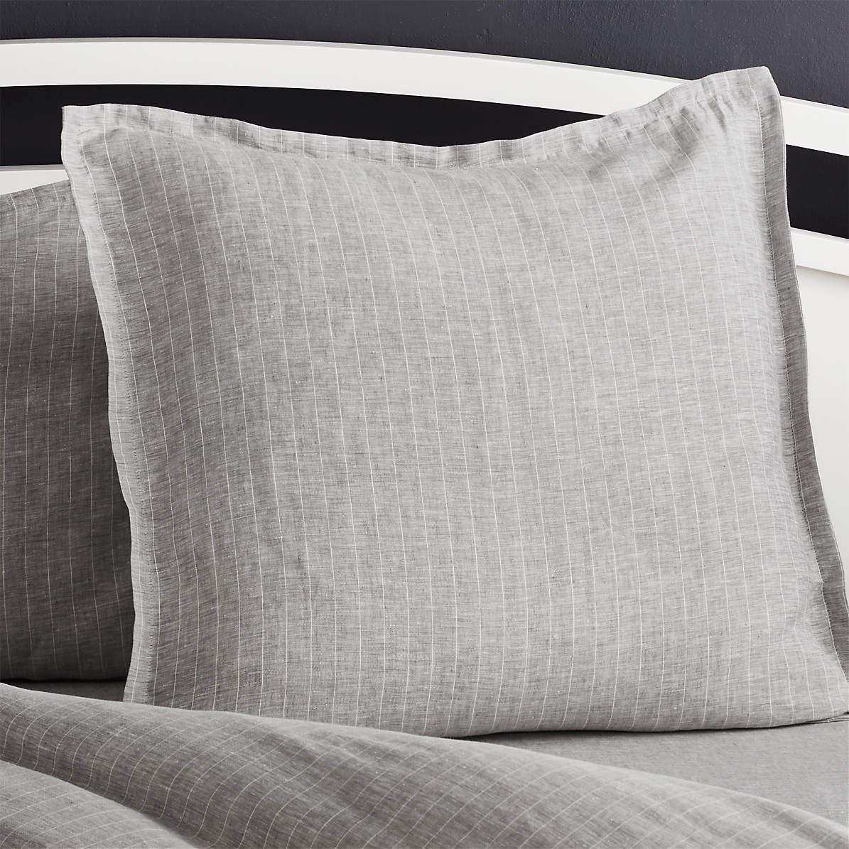 Pure Linen Pinstripe Grey Euro Pillow Sham Reviews Crate And Barrel