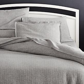 Linen Pinstripe Grey Duvet Covers and Pillow Shams