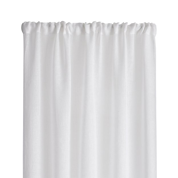Linen Sheer 52 Quot X96 Quot White Curtain Panel Crate And Barrel