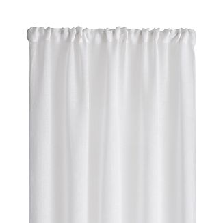 "Linen Sheer 52""x84"" White Curtain Panel"