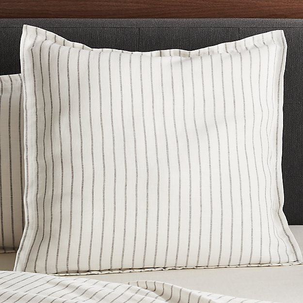 Linen Wide Stripe Warm White Euro Pillow Sham Reviews Crate And Barrel