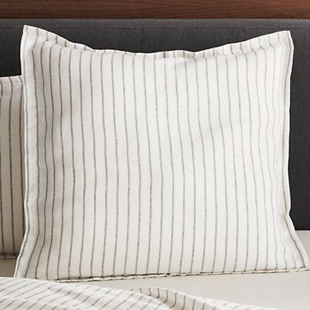 Linen Wide Stripe Warm White Euro Pillow Sham Reviews