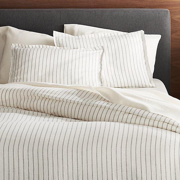 Linen Wide Stripe Warm White Full Queen Duvet Cover